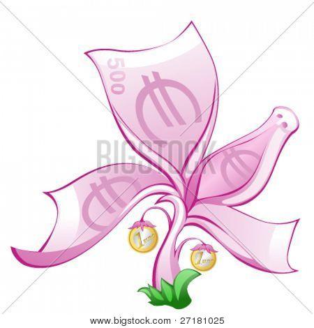 cartoon monetary tree with coins