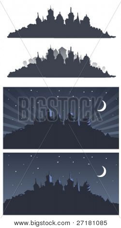 set of city silhouettes backgrounds