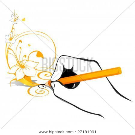 vector illustration of hand with pencil