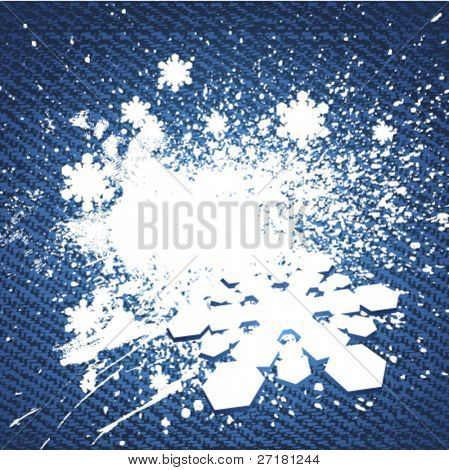 vector jeans background with snowflakes