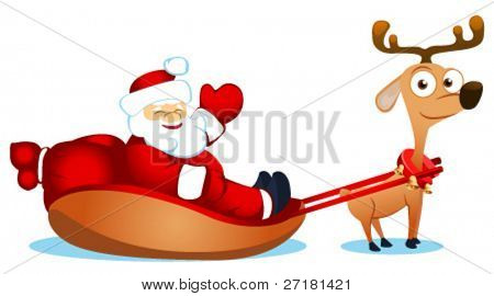 vector illustration of santa with deer