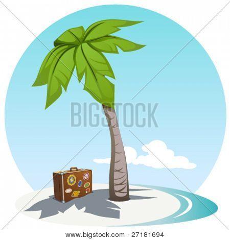 vector illustration of island coast