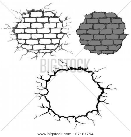 set of crushed brick walls