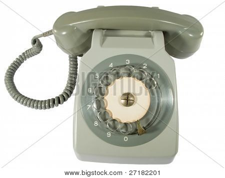old telephone off hook isolated on white background