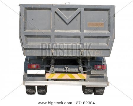 European dump truck rear view
