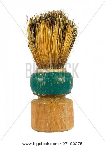 old shaving brush isolated on white