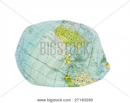 Deflated earth globe. Environmental damage.