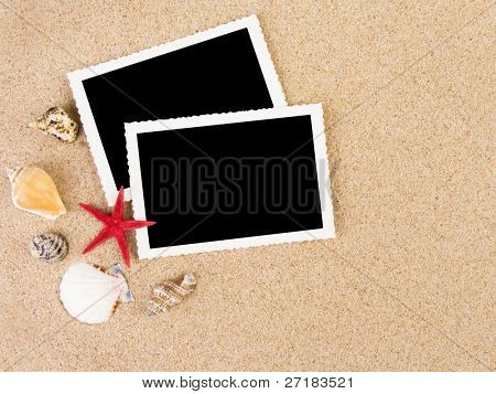 Pictures in a beach concept. Vacation memories.