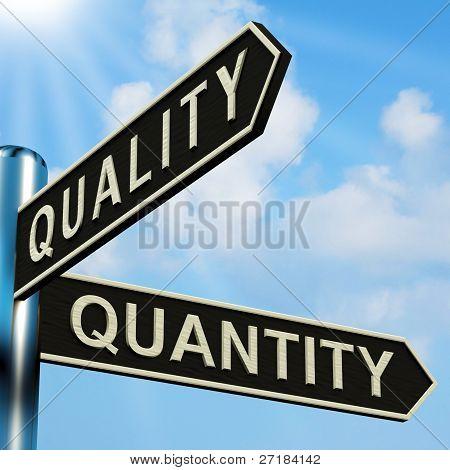 Calidad o direcciones de cantidad en un cartel