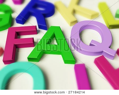 Letters Spelling FAQ As Symbol for Questions And Answers