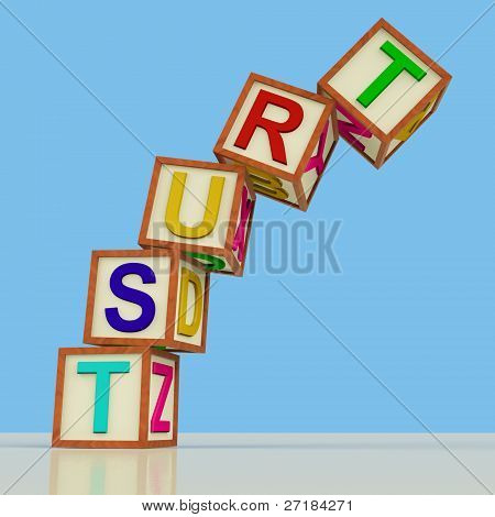Blocks Spelling Trust Falling Over As Symbol for Lack Of Confide