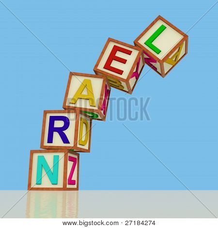 Kids Blocks Spelling Learn Falling Over As Symbol for Study And