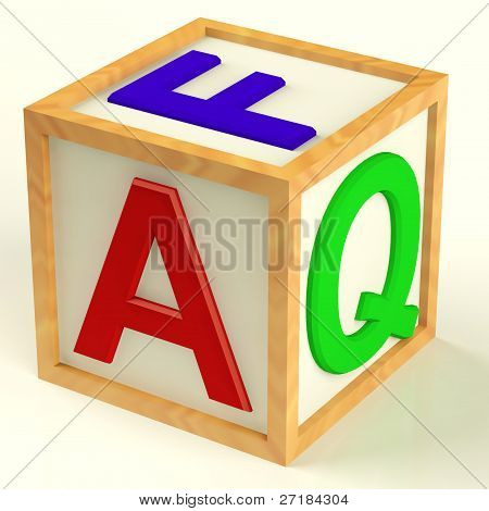 Block Spelling FAQ As Symbol for Questions And Answers