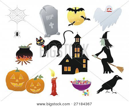 Assorted Halloween icons in a vector illustration