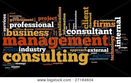Management consulting concept in word tag cloud on black background