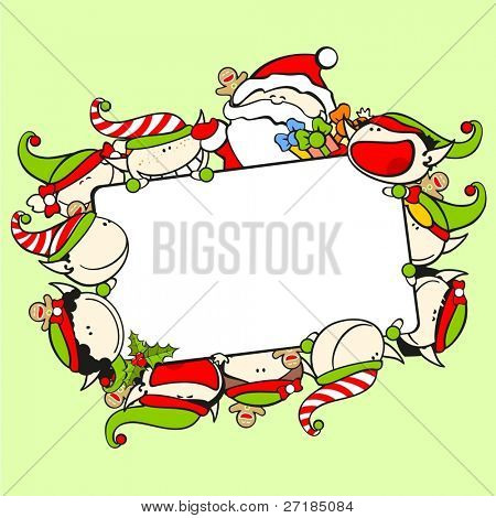 Christmas frame with Santa Claus and elves