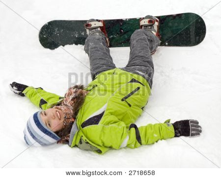 Health Lifestyle Image Of Young Snowboarder Girl After Incidence