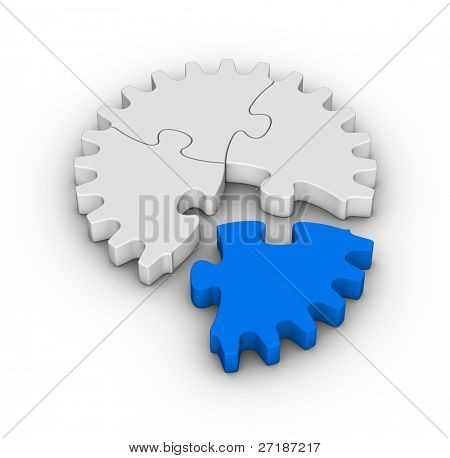 gear of jigsaw puzzles with one red piece