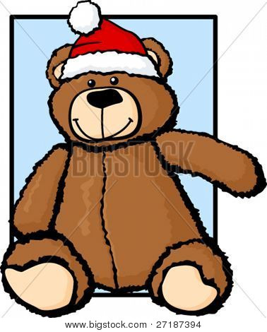 plush bear with christmas hat