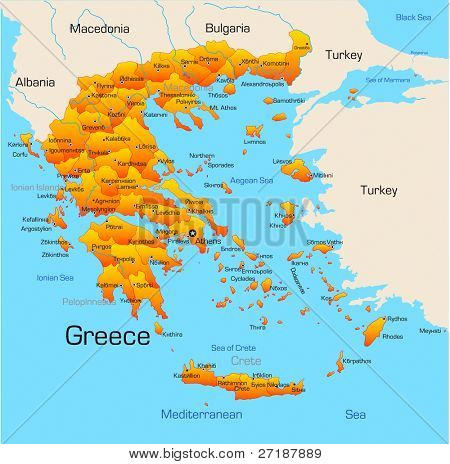 Abstract vector color map of Greece country