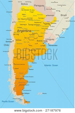Abstract vector color map of Argentina country