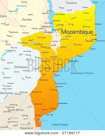 Abstract vector color map of Mozambique country