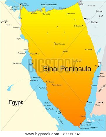 Abstract vector color map of Sinai Peninsula