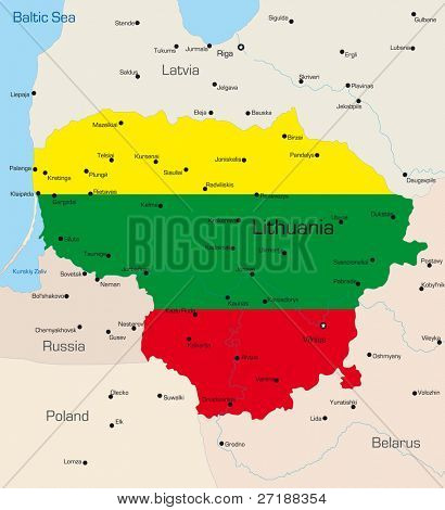 Abstract vector color map of Lithuania country coloured by national flag