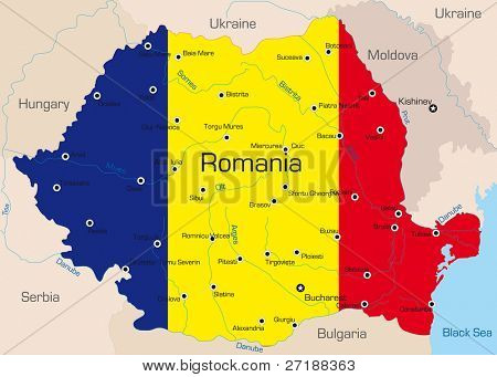 Abstract vector color map of Romania country coloured by national flag