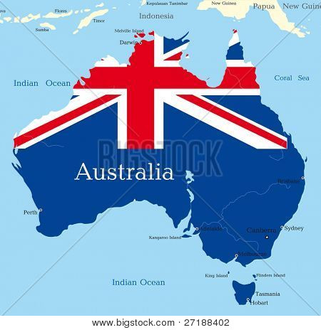 Abstract map of australian continent colored by  national flag