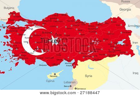 Vector map of Turkey country colored by national flag