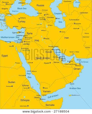 Abstract vector color map of Middle East country