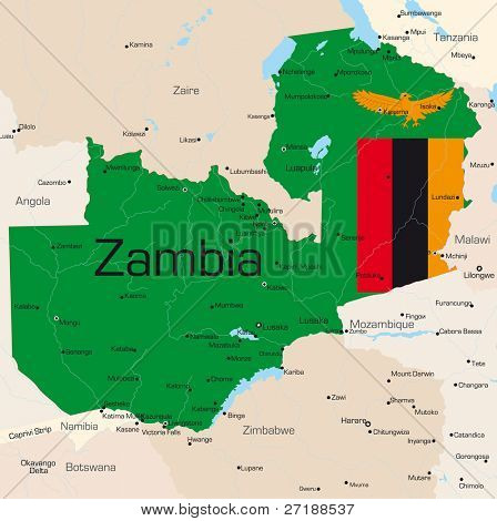 Abstract vector color map of Zambia country colored by national flag