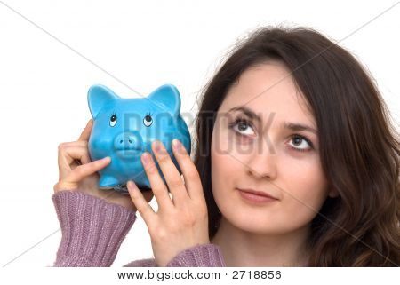 Mujer con Piggybank