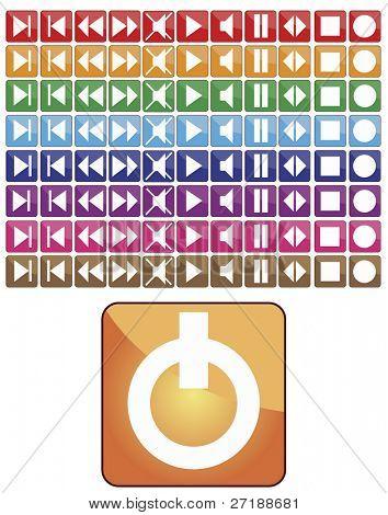 abstract Vector andere Farbe Set Medien-Tasten