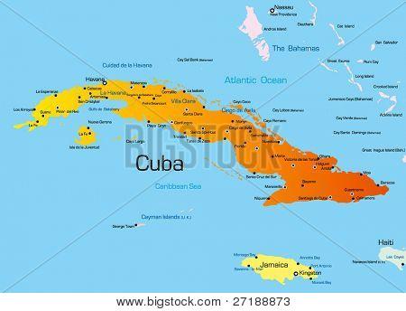 Mapa de color del vector de país de Cuba