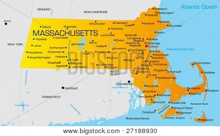Vector color map of Massachusetts state. Usa