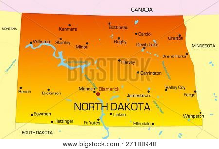 Vector color map of North Dakota state. Usa