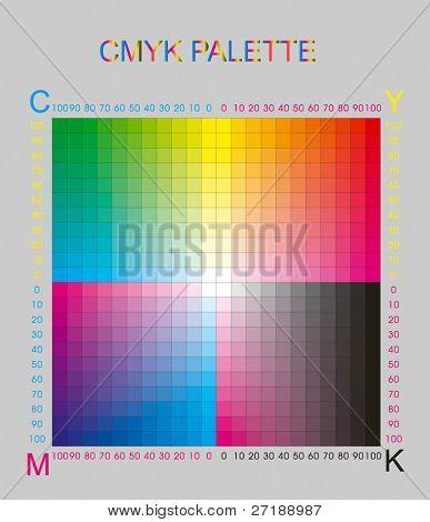 cmyk color palette on grey