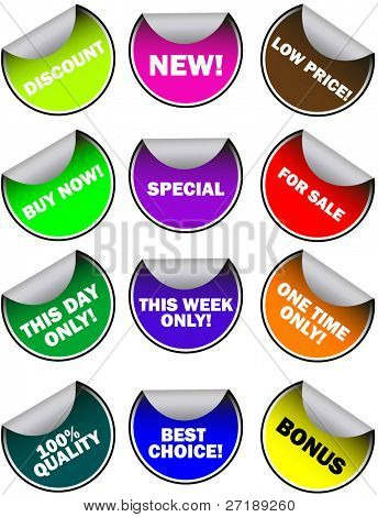 Vector - sale tag stickers with discount and slogans