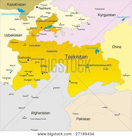 Farbe Vektorkarte von Tadschikistan Land