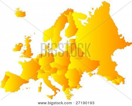 Europe vector color map illustration
