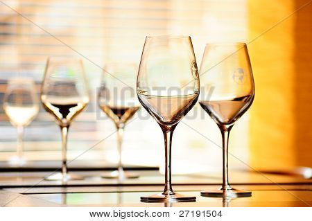 Wine glasses on the restaurant tables