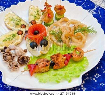 variety eatable seafood set on the table