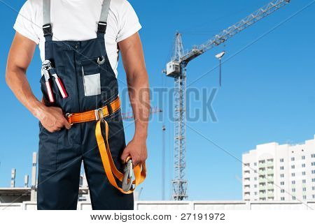 poster of erector closeup on building background