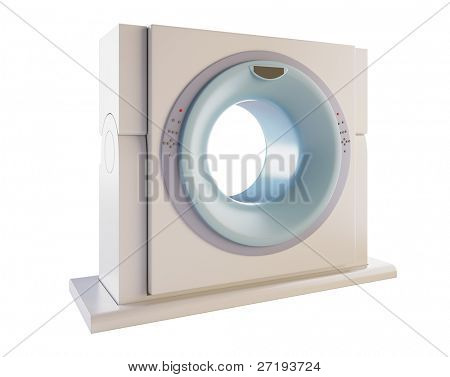 A 3D illustration of a MRI(Magnetic Resonance Imaging) scanner, isolated on white background.