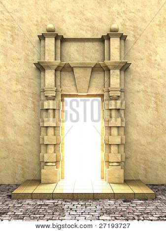 A 3d illustration of classical portal in to the Light.