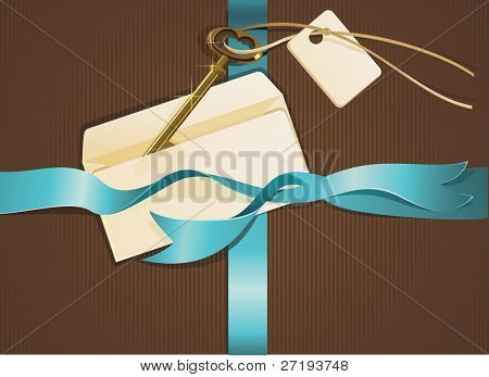 Composition of gold key, blue ribbon and letter