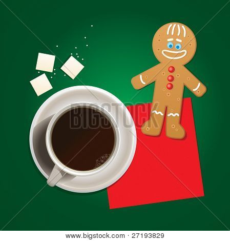 Vector illustration of cup of coffee and mister cookie.