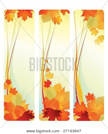 Vector illustration of autumn banners with leafs.
